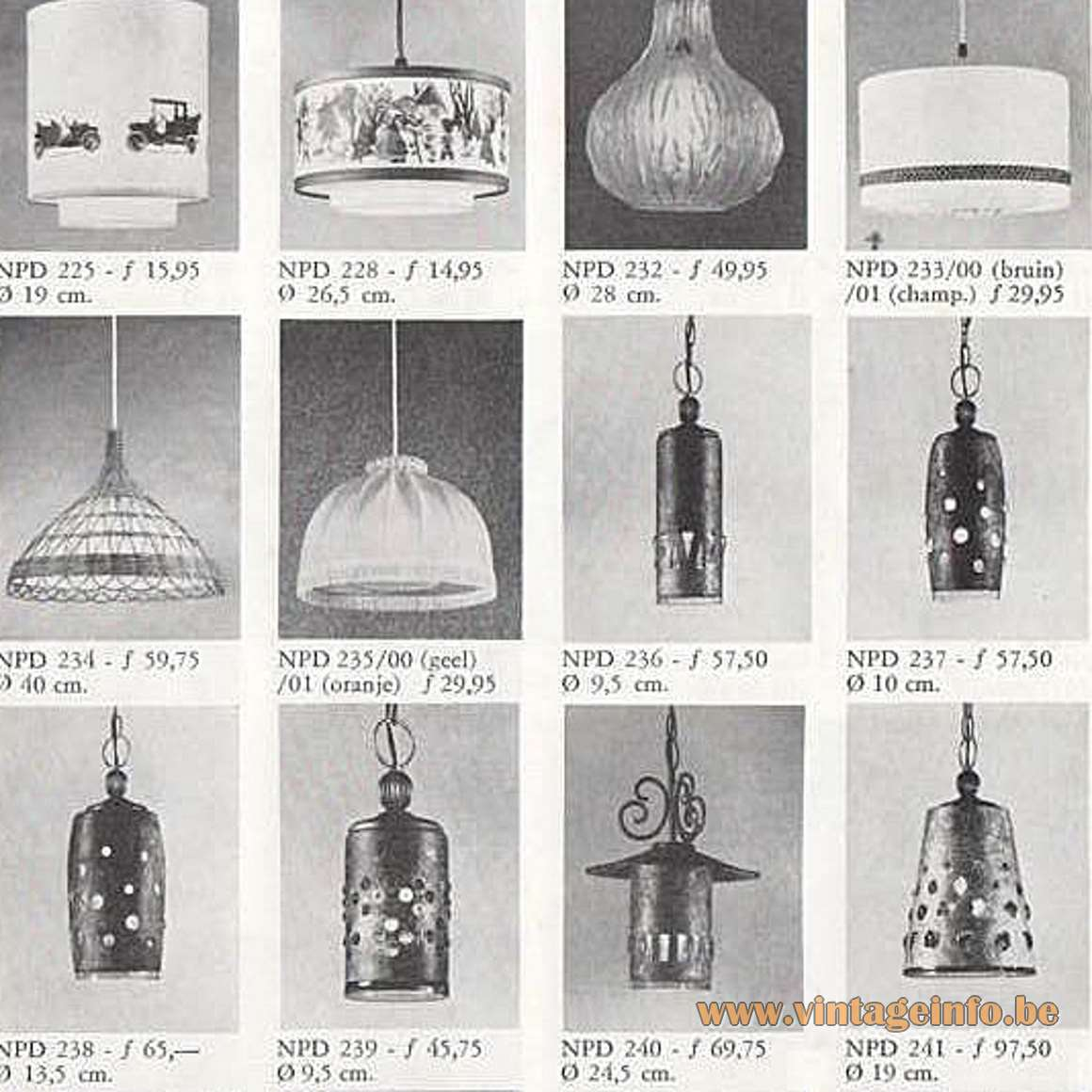 Burned Copper Caged Glass Pendant Lamps - Philips 1968 lighting catalogue