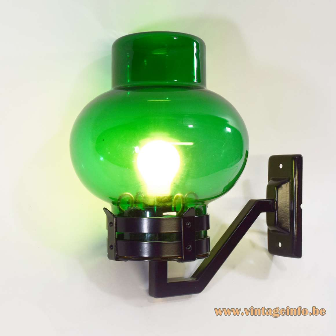 1960s Philips outdoor wall lamp garden light green glass black painted metal bollard style 1970s MCM