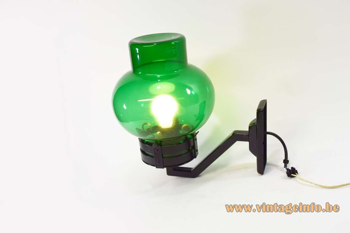 1960s Philips outdoor wall lamp garden light green bollard style glass lampshade black painted metal 1970s