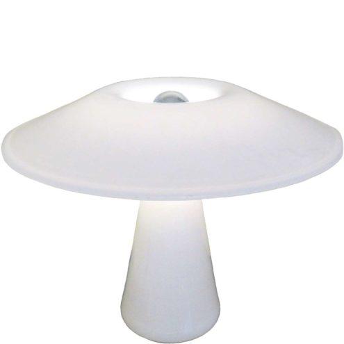 Holmegaard Phoenix table lamp design: Sidse Werner mushroom white opal glass 1980s Denmark E27 socket vintage