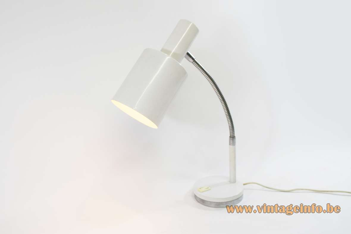 1970s Prova desk lamp Italy round base chrome gooseneck white E27 socket BHS Massive MCM