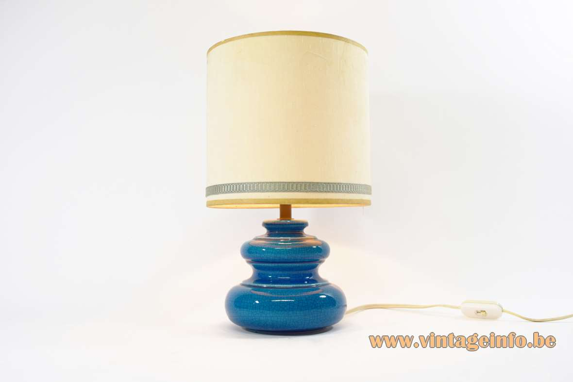 Rimini blue table lamp round ceramic base in turquoise ultramarine azur fabric lampshade 1960s MCM vintage