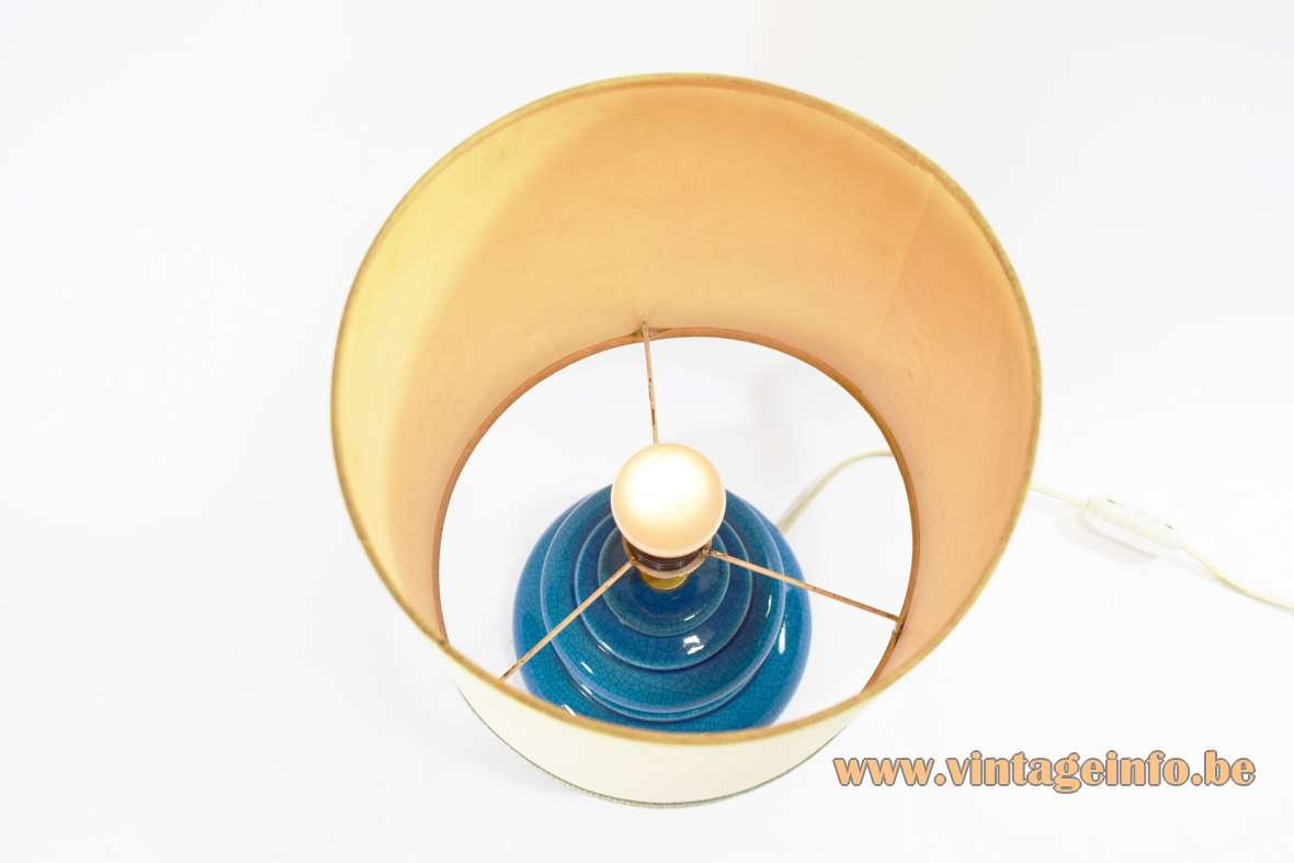 Rimini blue table lamp round ceramic base round fabric lampshade turquoise/ultramarine/azur blue 1960s MCM