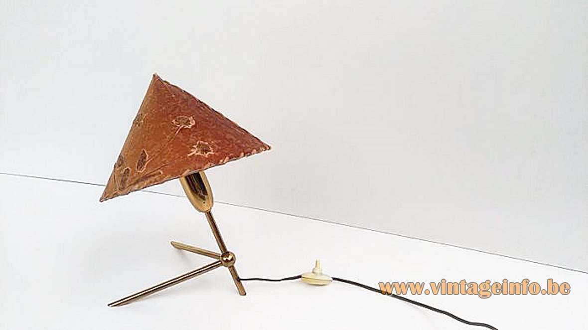 Rupert Nikoll table lamp brass tripod rods fabric lampshade decorated with real flowers 1950s 1960s MCM