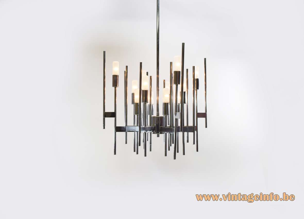 Gaetano Sciolari chrome tubes geometric chandelier chromed rods 12 E14 bulbs 1960s 1970s MCM Italy
