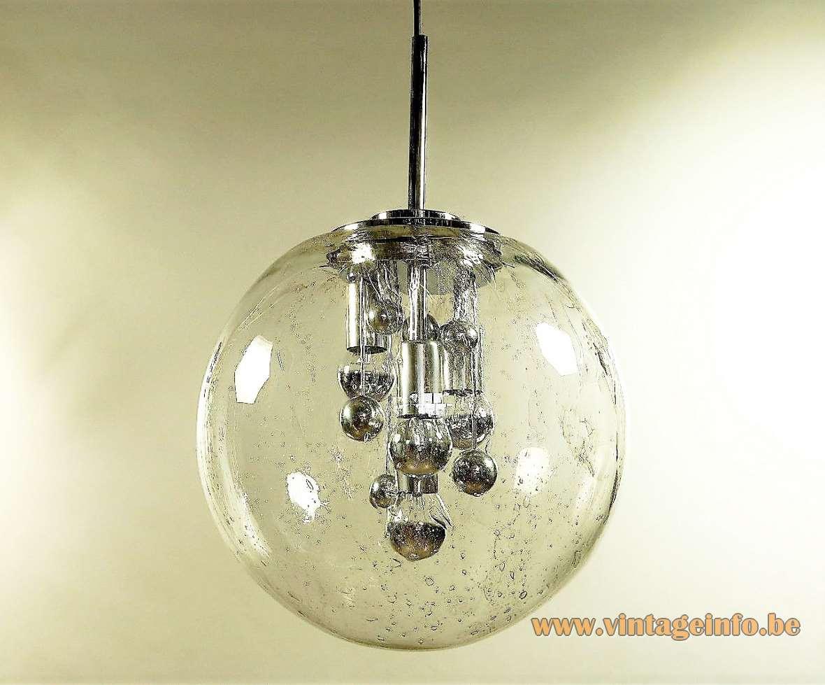 Sputnik globe pendant lamp DORIA bubble glass chrome balls 4 light bulbs 1960s 1970s MCM vintage