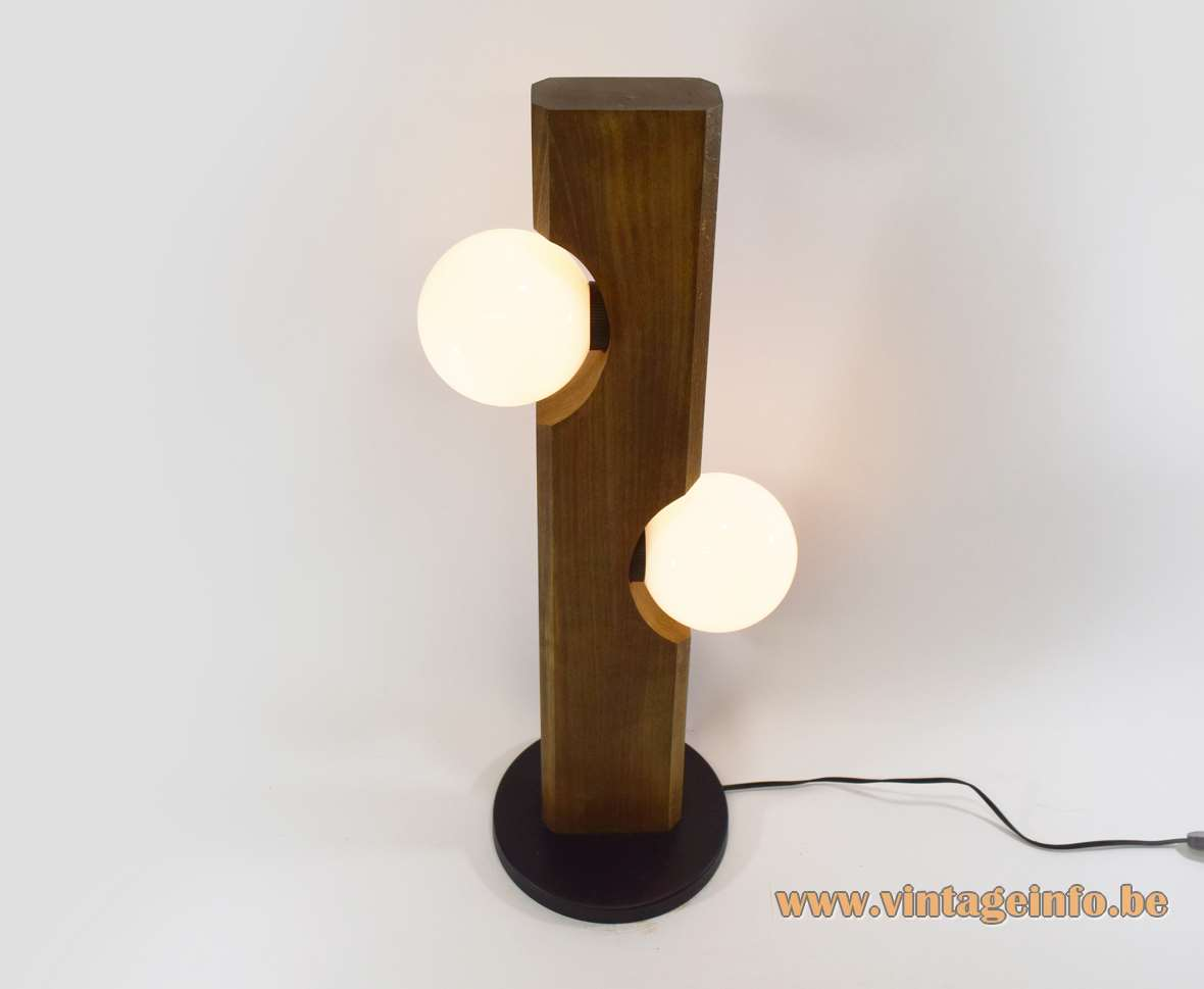 Temde-Leuchten floor lamp black metal base wooden beam 2 opal glass globes lampshades 1960s 1970s Germany
