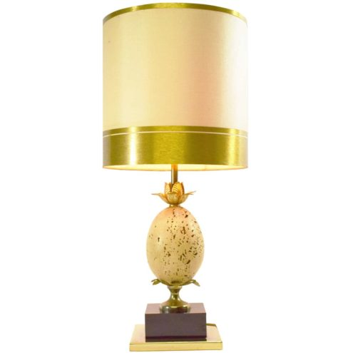 Travertine ostrich egg table lamp oval limestone globe tubular lampshade Le Dauphin France 1970s 1980s Oxford