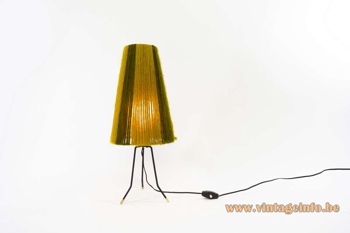 Tripod Wool Table Lamp conical lampshade DIY 1960s 1970s ocher brown E27 socket MCM
