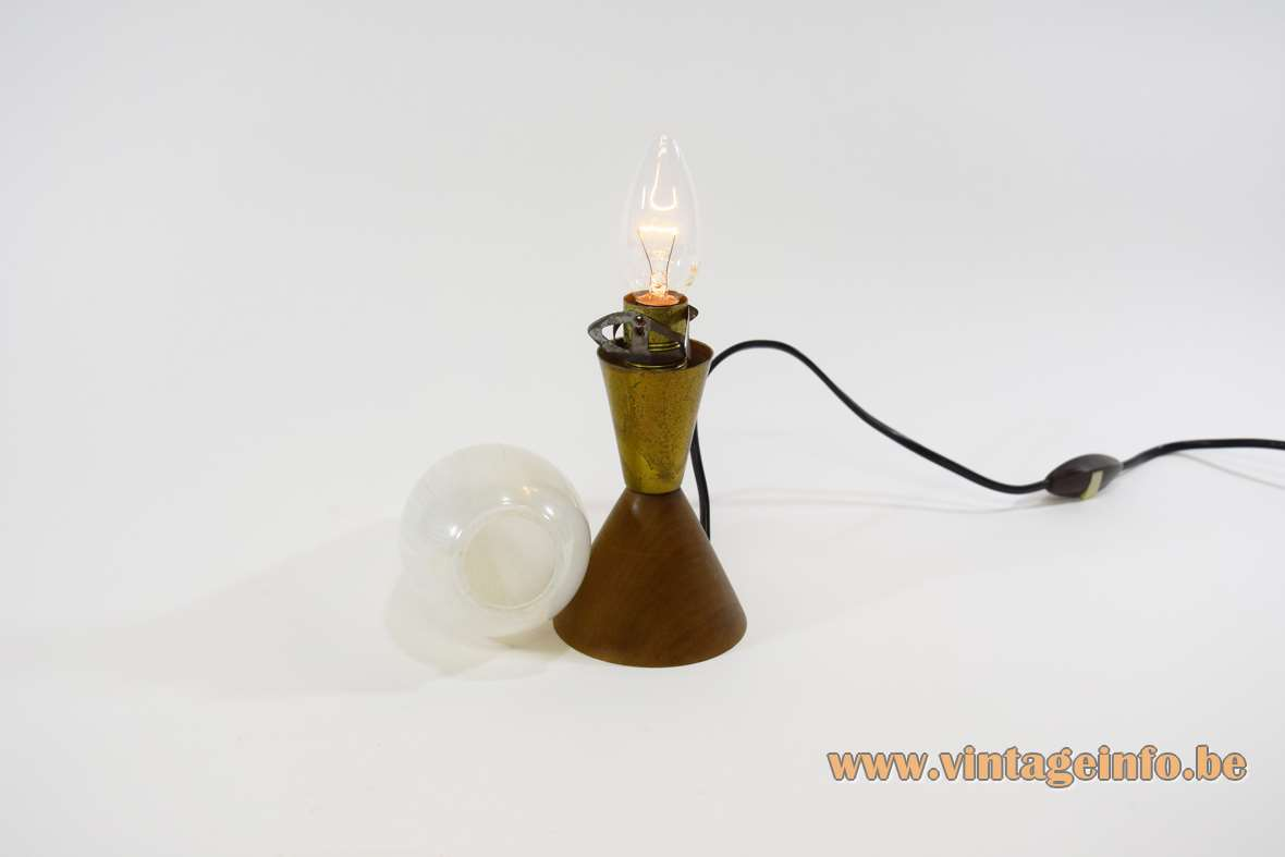 1950s bedside lamp conical teak base and brass decoration egg-form striped glass 1950s/1960s Massive