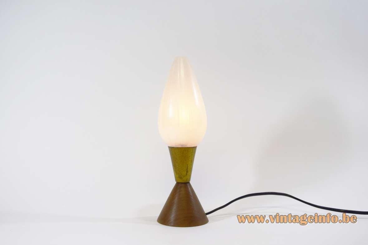 1950s table lamp conical teak base brass egg-form striped glass 1950s 1960s Massive Belgium MCM Mid-Century Modern