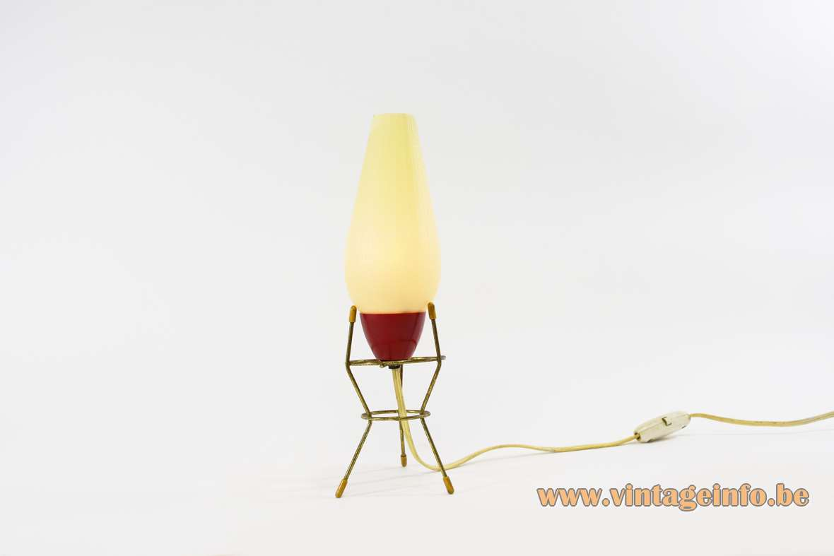 1950s tripod bedside table lamp brass white plastic red Bakelite VEB Leuchtenbau Germany E14 socket MCM