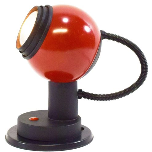 1970s magnetic table lamp red metal globe lampshade black plastic base Germany 1980s BJB switch