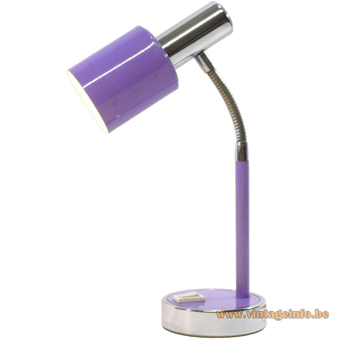 1970s Purple Italian Gooseneck Desk Lamp Prova BHS Massive chrome MCM