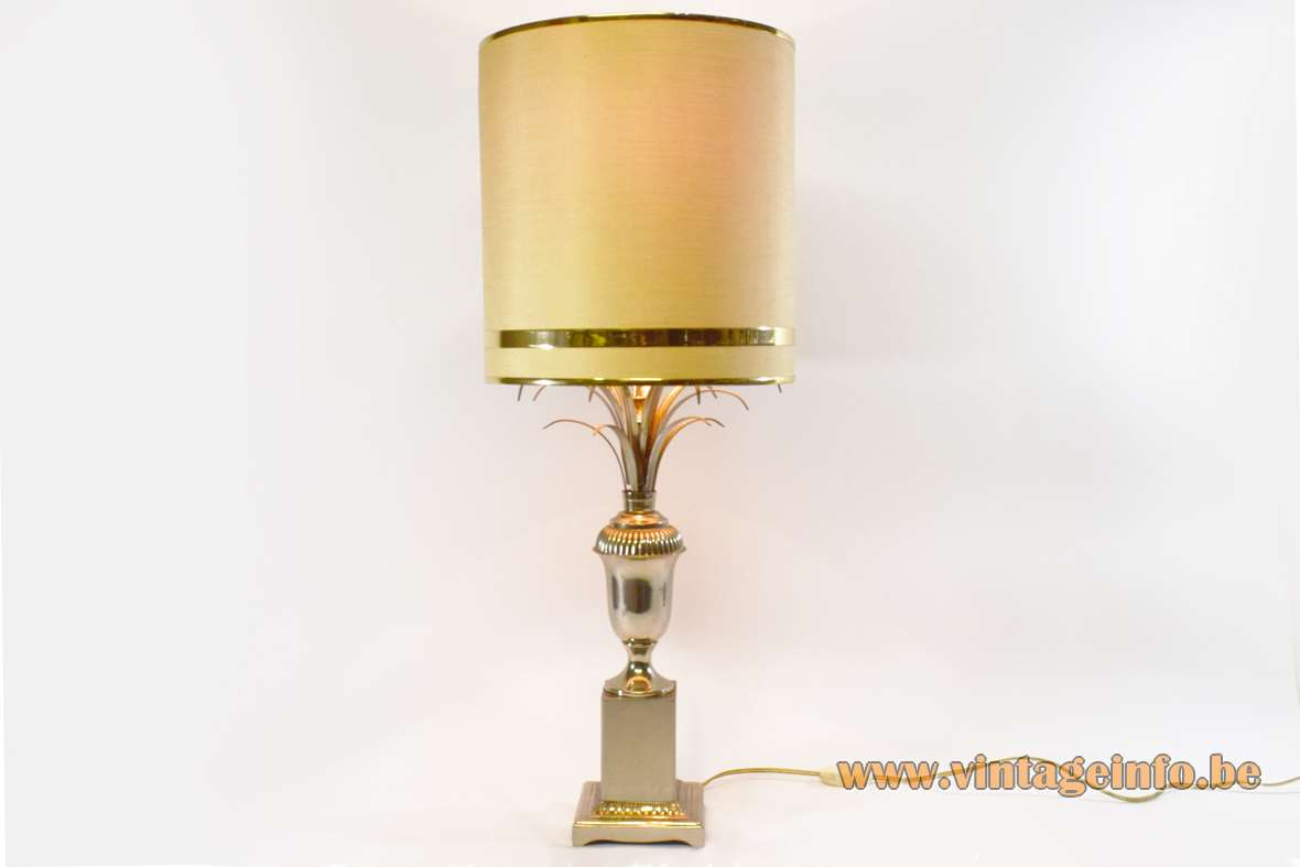 1970s chrome reed table lamp urn palm light square base round lampshade Hollywood Regency 1970s MCM