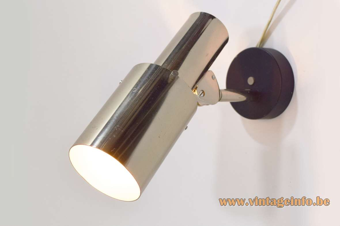 Chrome wall lamp black round metal base Les Ateliers Boulanger spotlight 1970s 1980s Mid-Century Modern