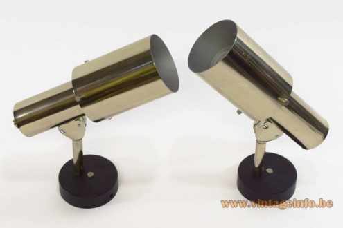Chrome wall lamps black round metal base Les Ateliers Boulanger spotlight 1970s 1980s Mid-Century Modern