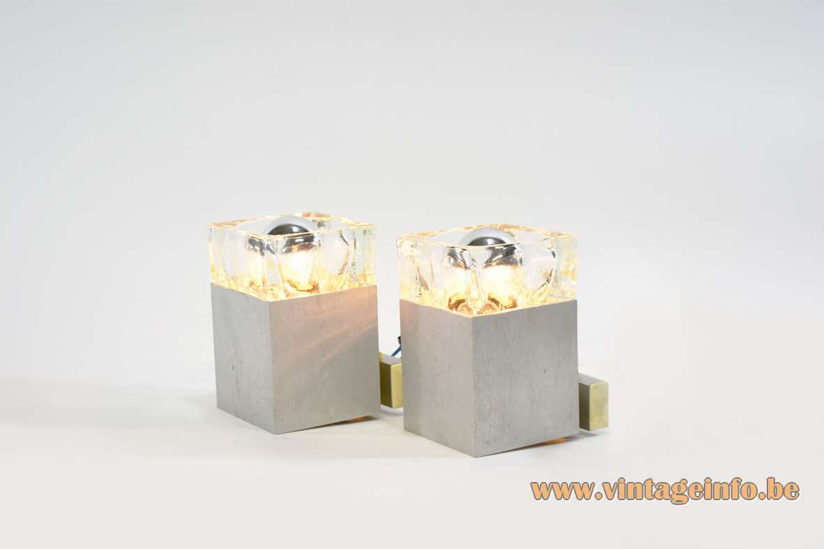 Gaetano Sciolari Cubic wall lamps square beam brushed aluminium pressed crystal glass 1970s 1980s MCM