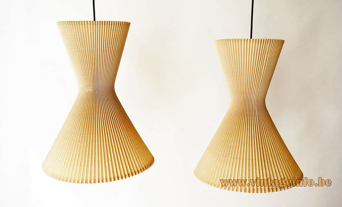 1950s Diabolo Pendant Lamps, Made in Germany, steel wire, beige folded cotton
