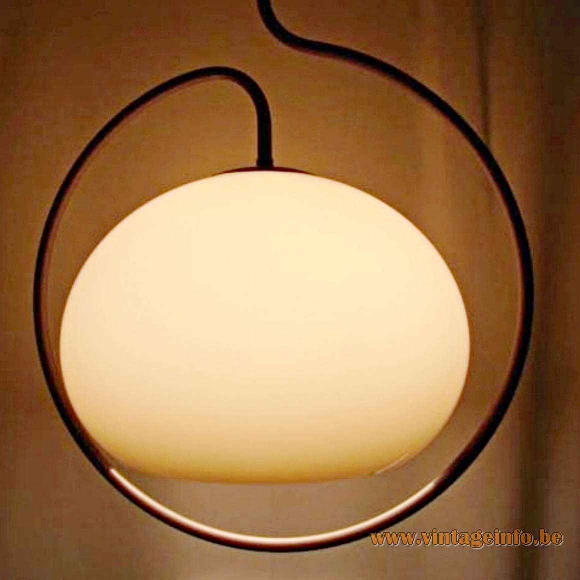 Dijkstra Circle Pendant Lamp, 1970s, brown acrylic globe, chrome rod