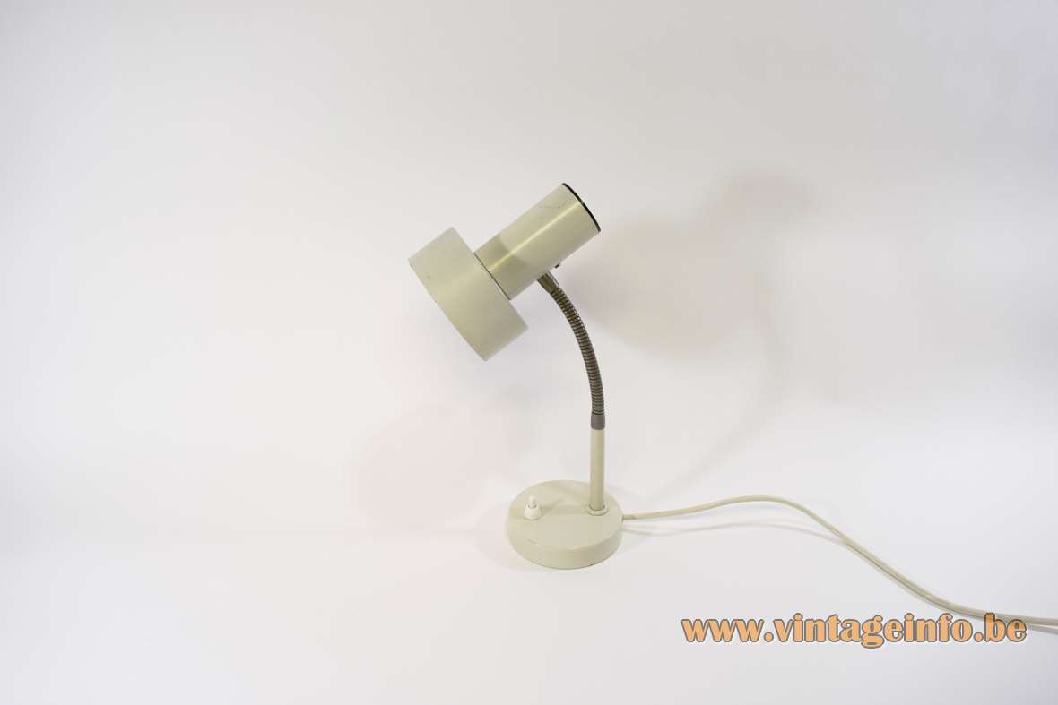 East German desk lamp round white metal base chrome gooseneck white lampshade 1970s MCM Massive Belgium
