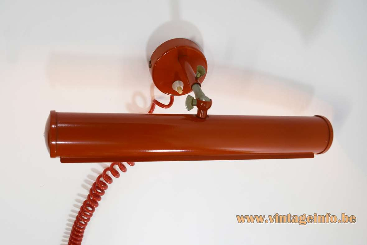 East German picture/wall lamps tubular lampshade adjustable rod Massive Belgium 1970s MCM