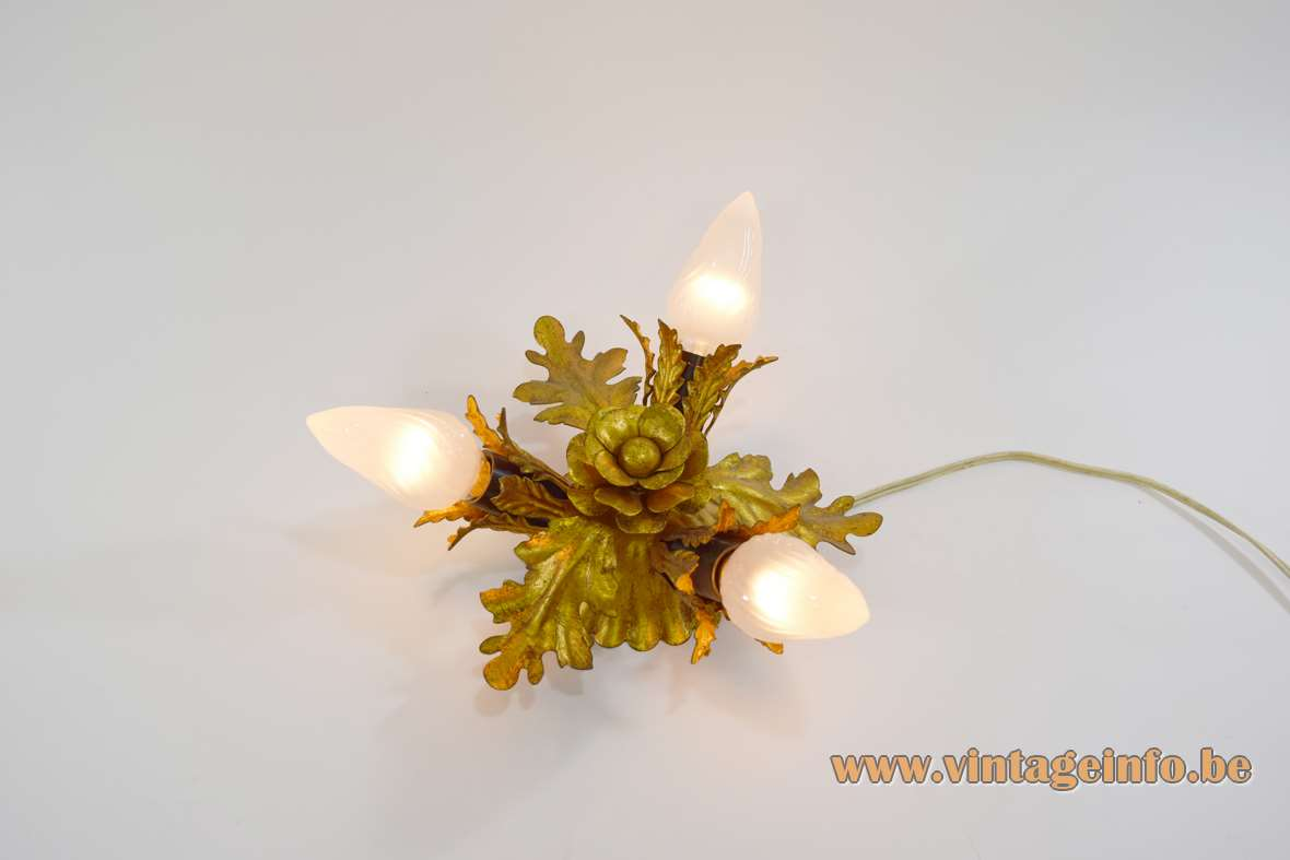 Banci Firenze flower ceiling lamp flush mount antique gold painted metal 3 light bulbs Italy 1950s 1960s 1970s