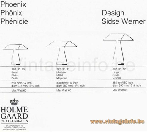 Holmegaard Phoenix Table Lamp - Catalogue - Dimensions