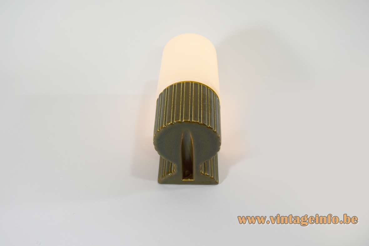 Ifö wall lamp green/brown enameled porcelain and opal glass designer: Sigvard Bernadotte 1960s 1970s MCM