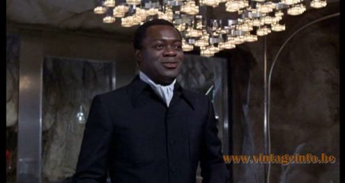 Gaetano Sciolari Cubic Chandelier used as a prop in the James Bond film Layer Cake Live and Let Die (1973) Lamps in the movies!