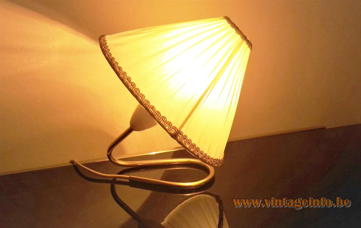 Kalmar table lamp curved brass rod folded fabric lampshade Austria 1950s 1960s bedside light MCM