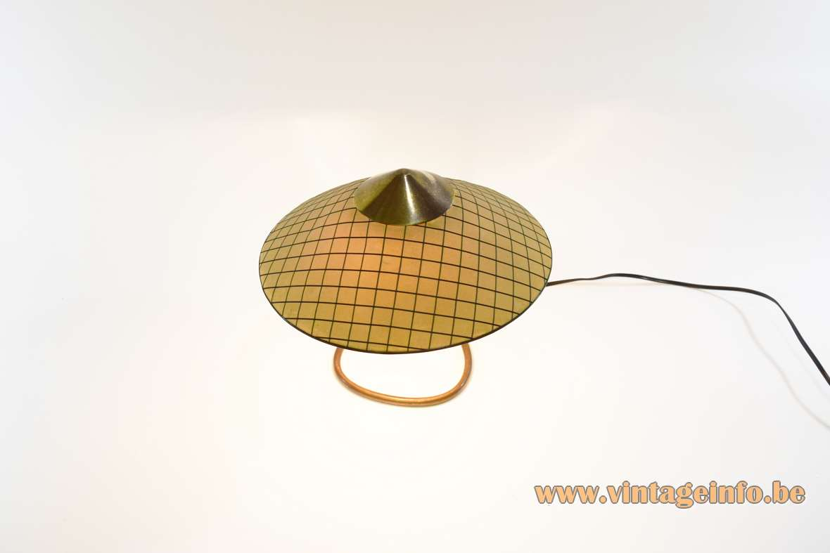 Kalmar Franken table lamp curved copper rod triangular conical checkered fabric lampshade Austria 1950s 1960s vintage