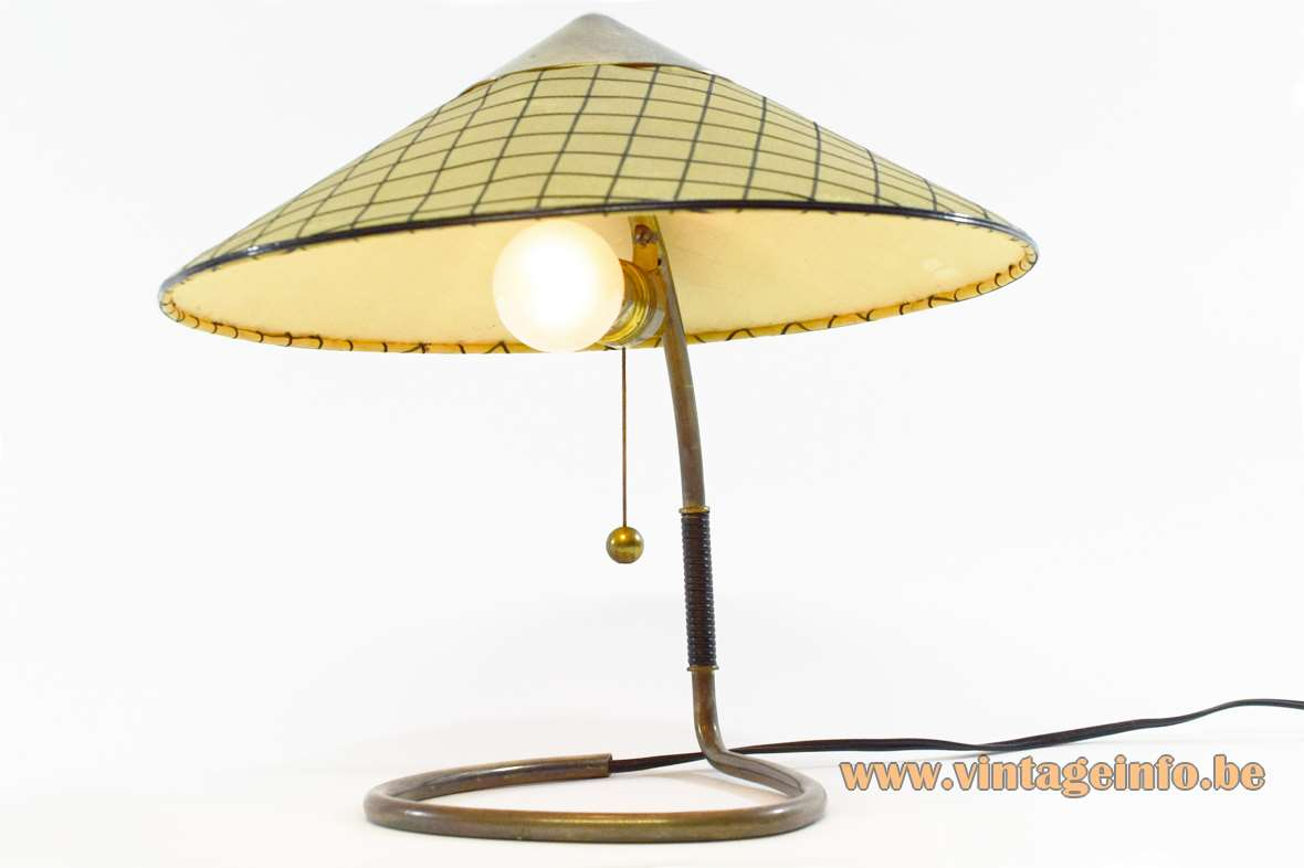 Kalmar Franken table lamp curved brass rod triangular fabric lampshade Austria 1950s 1960s bedside light MCM