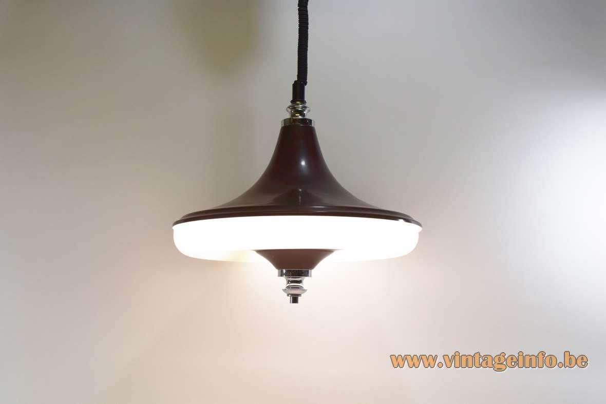Circular fluorescent tube pendant lamp kitchen light round plastic rise & fall Massive Belgium 1960s 1970s MCM