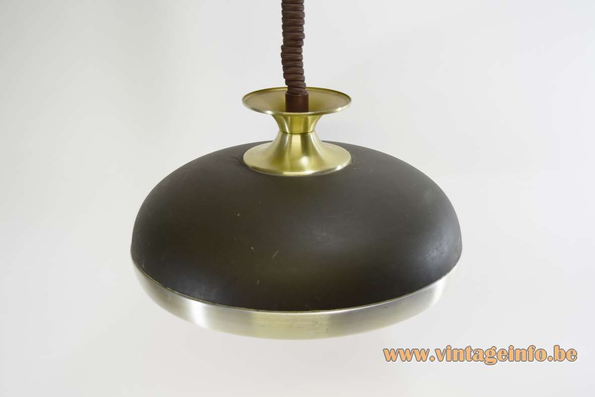 Leclaire & Schäfer pendant lamp round aluminium lampshade flat curved brass bar rise & fall mechanism 1970s Germany