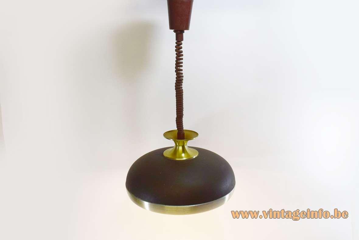 Leclaire & Schäfer pendant lamp round aluminium lampshade brass bar rise & fall mechanism 1970s MCM