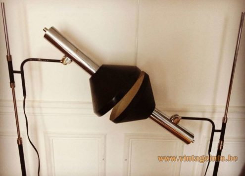 Les Ateliers Boulanger Floor Lamps chrome base and rod black lampshade 1970s Belgium Mid-Century Modern