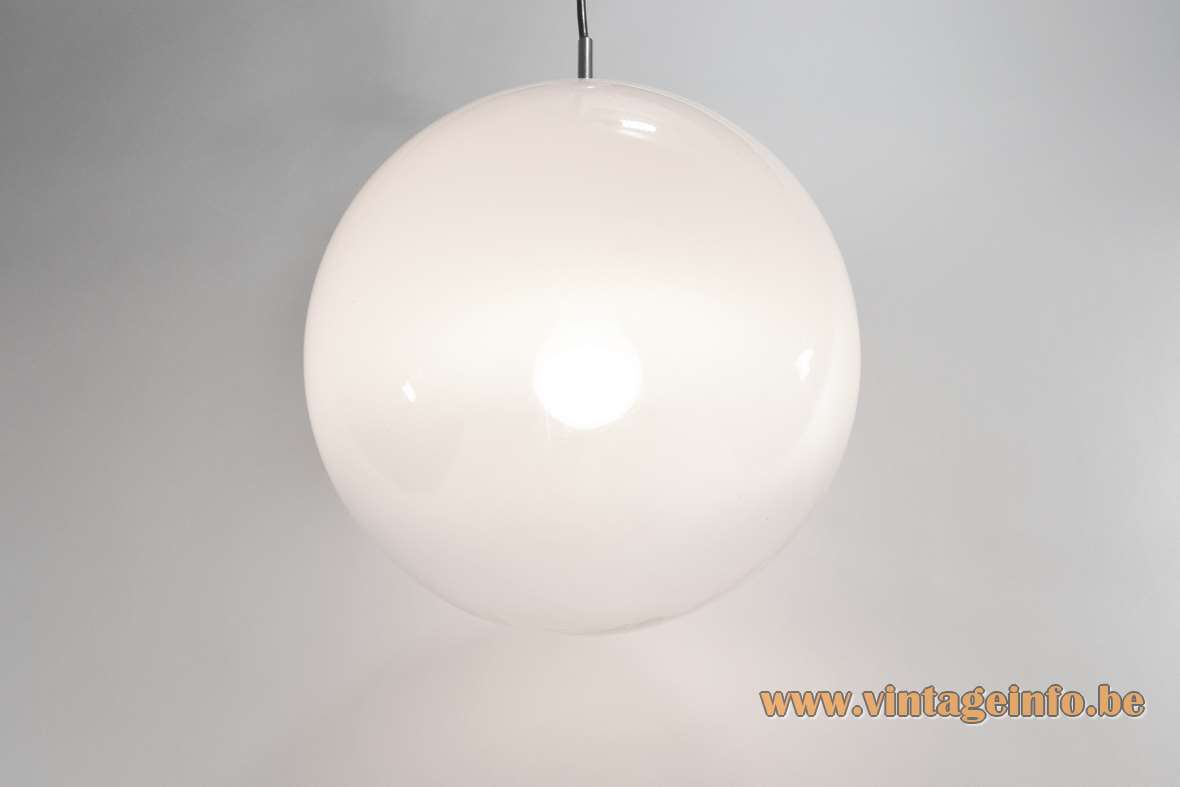 Morning Dew globe pendant lamp misty clear and white crystal glass Raak Amsterdam Targetti MCM 1960s 1970s
