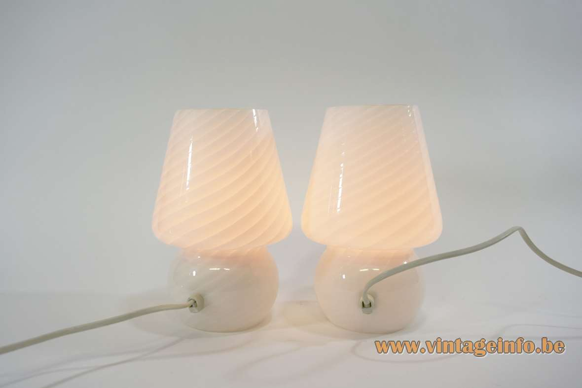 Peill + Putzler bedside table lamps striped cone globe Murano Venini glass lampshades 1960s 1970s vintage