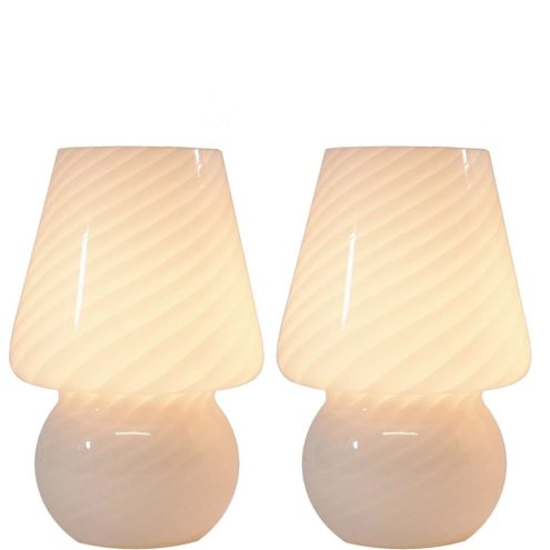 Peill + Putzler bedside table lamps striped cone globe Murano Venini glass lampshades 1960s 1970s vintage