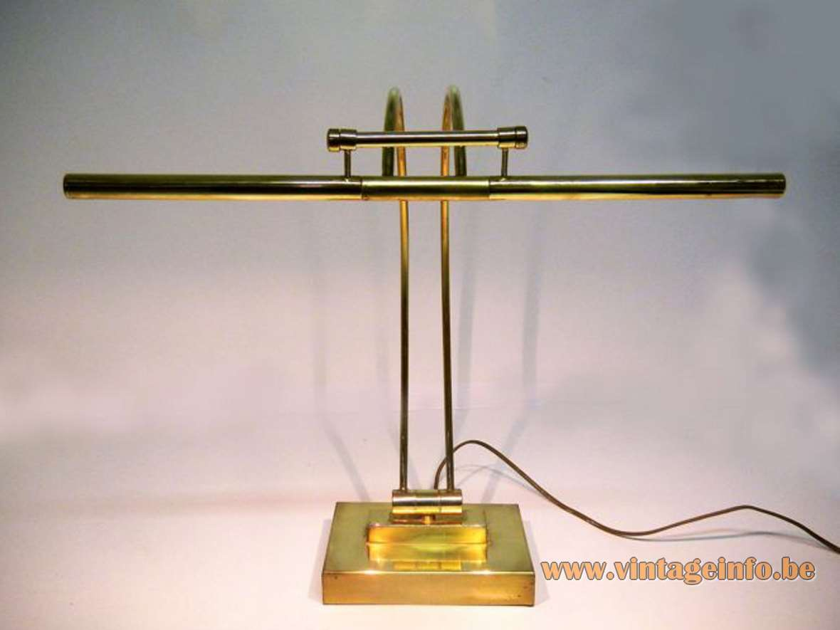 Presidential desk lamp Les Ateliers Boulanger rectangular brass base 2 curved rods halogen bulbs 1990s vintage