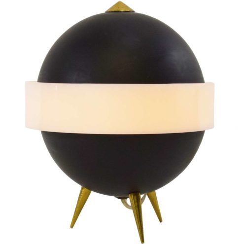 Saturn tripod table lamp black globe white acrylic ring 1950s 1960s Esperia Designer: Angelo Brotto Italy