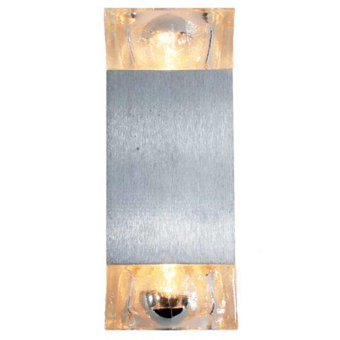 Sciolari Cubic wall lamp design: Gaetano Sciolari brushed aluminium beam pressed glass 1970s 1980s MCM vintage