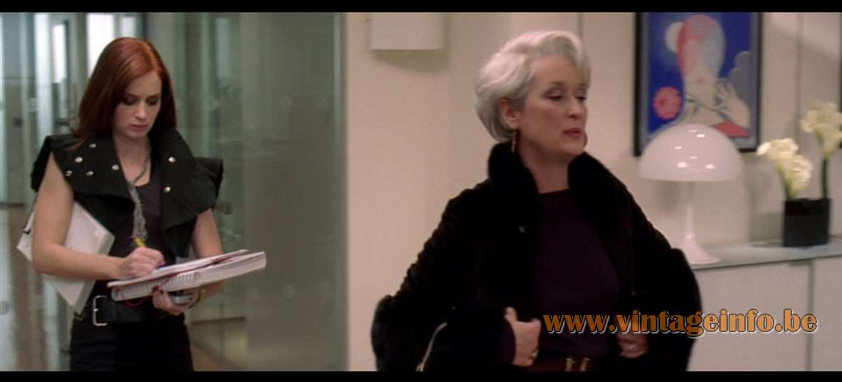 Verner Panton Panthella Table Lamp used as a prop in the film The Devil Wears Prada (2006) lamps in the movies