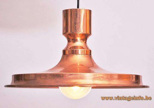 Vitrika pendant lamp copper dish metal Denmark 1970s MCM Mid-Century Modern