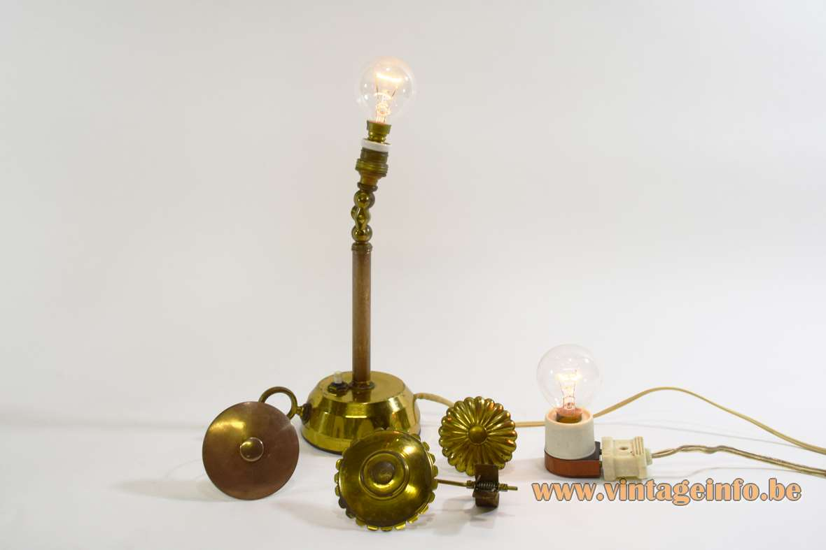 1950s candlestick lab lamp brass round base parasol caps copper 1960s porcelain and brass socket light