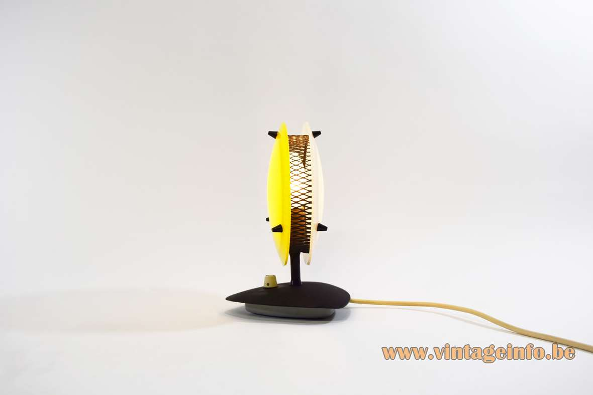 Télé Ambiance table lamp dimmable light triangular base yellow & white acrylic discs Arredoluce Gino Sarfatti