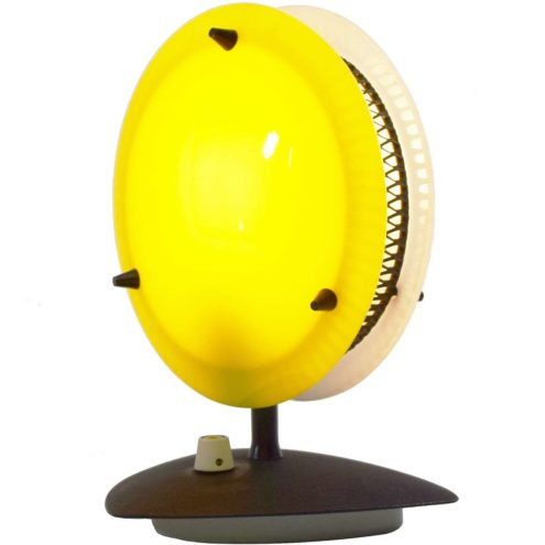 Télé Ambiance table lamp triangular black base yellow & white acrylic discs lampshade dimmer Gino Sarfatti 1950s 1960s