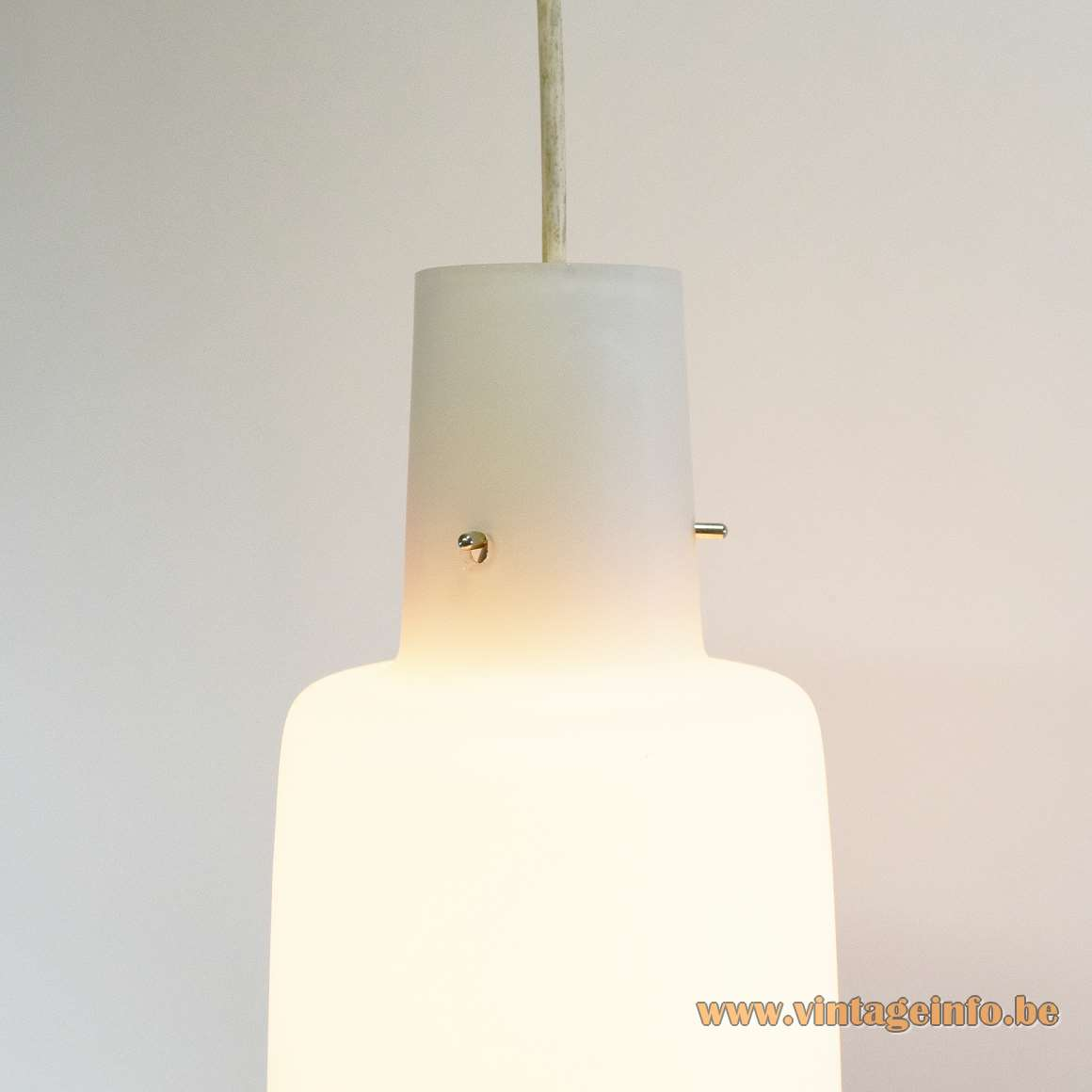 1950s white opal mat/frosted glass pendant lamp bell shape vintage Mid-Century Modern MCM 1960s