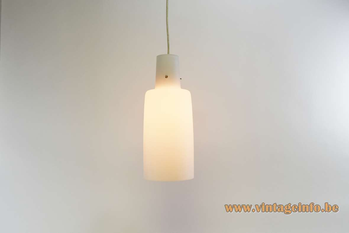 1950s opal glass pendant lamp bell shaped white frosted tubular lampshade 1960s E27 socket vintage mcm